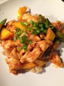 chili-mango chicken stir fry
